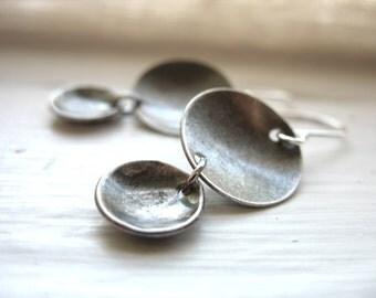 Silver Dome Earrings , Oxidized Silver Dangle Drop Earrings, Handmade Metalwork Artisan Jewelry, Dangle Drop Earrings