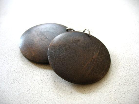 Wood Earrings, Maple Wood Earrings, Espresso Dark Brown Maple Wood Chandelier Dangle Drop Earrings, Handmade Wood Earrings