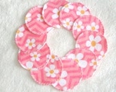 Pink Daisy Chevron Print Make-up Remover Pads Washable Reusable Cotton Rounds cosmetic, Ready to ship