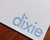 100 Letterpress printed custom note cards- lowercase, UPPERCASE, Mixed upper and lowercase or Modern Wood Type