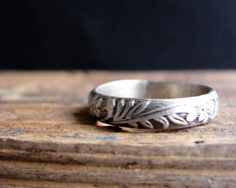 Rustic Sterling Silver Band Ring Romantic Wedding Ring Stack Ring