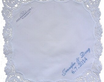 Beautiful Plauen Lace Personalized Hankie Embroidered with Name or Monogram and Wedding Date