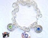 Hand Stamped Charm Bracelet Mothers Personalized Jewelry Sterling Silver Swarovski Birthstone Mom Grandmother Keepsake Bracelet 3 Charms