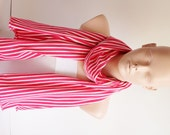 White and Pink Striped Jersey Cotton Soft Scarf