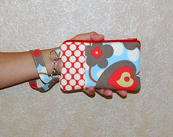 Morning Glory Linen and Full Moon Polka Dot Cherry - Wristlet Purse with Removable Strap and Interior Pocket