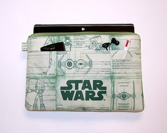 MacBook Pro 13, MacBook Air, MacBook 12, Surface Pro 3/4, iPad Pro, iPad Padded Case Cover - Handcrafted from STAR WARS Green Print Fabric