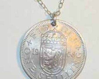 Antique Scottish Arms coin necklace-nicely domed-free shipping
