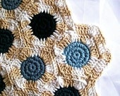 Large Placemat, Yarn Doily for Table Centrepiece, Blue and Beige
