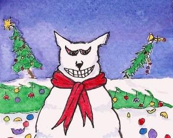 ACEO Christmas Cat Humor Original Watercolor Art-Oh What Fun