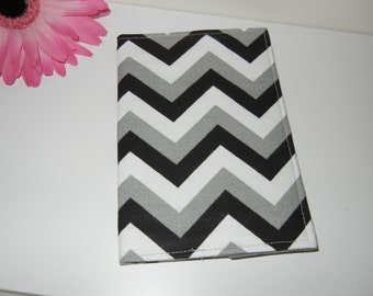 Fabric Passport Cover in Black Gray White Chevron READY TO SHIP