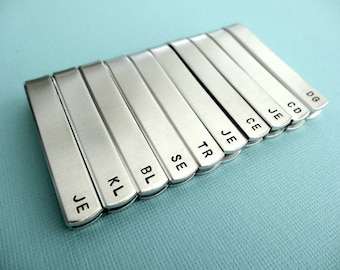 Set of 10 Personalized Tie Bars - Initials - Custom stamped Tie clips