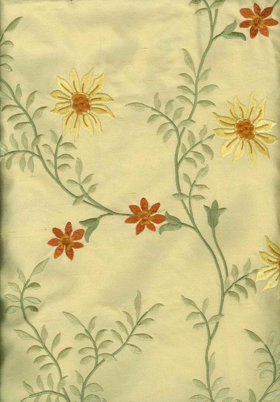 Golden yellow embroidered dupioni silk fabric piece