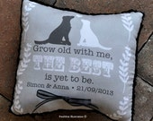 Custom Wedding Ring Pillow - Dogs or Your Pet Pillow - Personalized with Your Names and Wedding Date