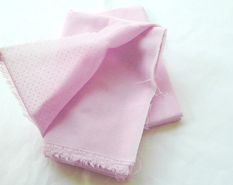 """Light Pink Cotton Fabric  with white Polka Dots 1970s 44"""" X 60""""."""