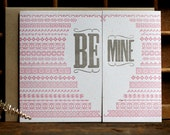 Be Mine Valentines Day Love Lettepress card