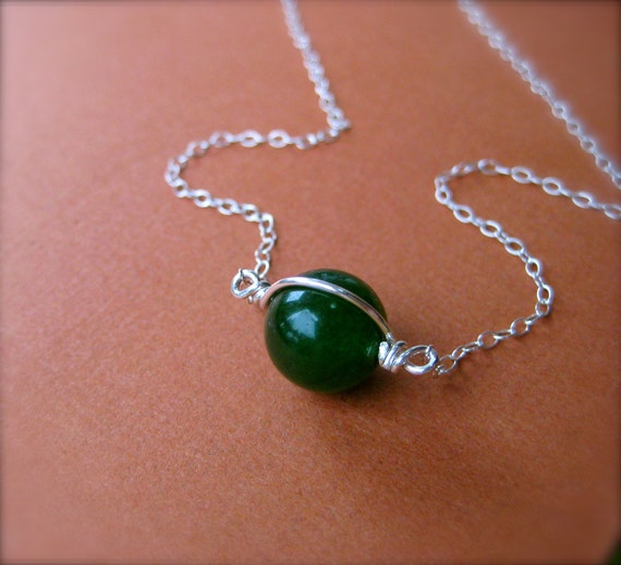 Simple Jade Necklace, Silver and Green Necklace, Green Stone, Everyday Jewelry