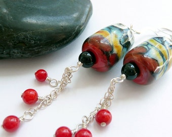 Handcrafted  Artisan Borosilicate Glass Onyx Red Coral Sterling Silver OOAK Bohemian Gypsy Tribal Long Dangle Earrings