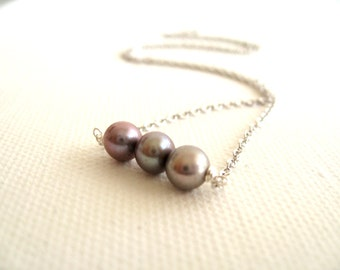 Freshwater Pearl necklace Lavender Grey Silver Gift for her Under 50 Vitrine