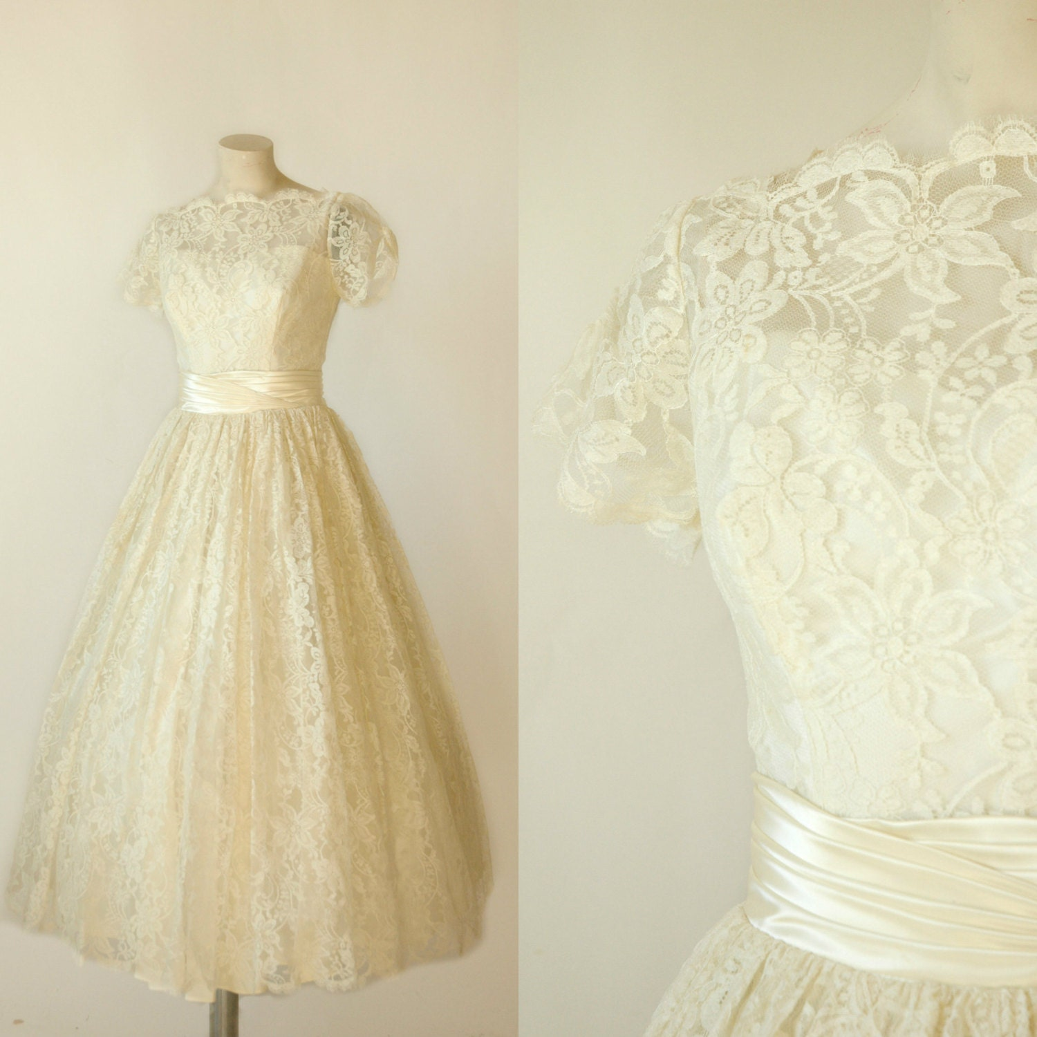 1950s tea length wedding dress vintage lace wedding dress for Vintage wedding dresses tea length