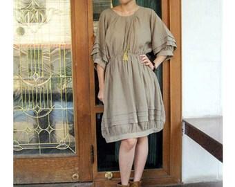Custom Made Kaki Cotton Pleated Short Boho  Sweet Summer Dress S-L (H)