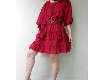 Maroon Red Cotton Ruffle Loose Short Tunic Dress Boho Blouse  M-L (D16)