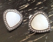 Dara Ettinger Oversized Natural Druzy Teardrop Stud Earrings set in Sterling Silver and White Topaz
