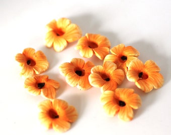 Mallow Flower Beads, Polymer Clay Flowers, Summer Orange Beads 10 pieces