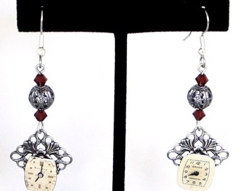 Steampunk Antiqued Silver Ornate Earrings with Vintage Watch Faces and Burgundy Red Swarovski Crystal Beads by Velvet Mechanism