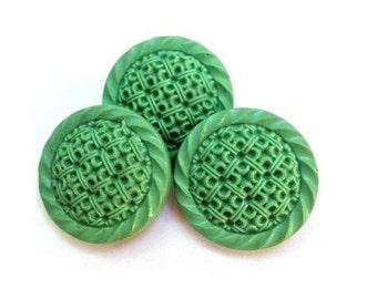 6 Antique vintage buttons etched design  green plastic,  26mm