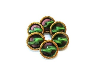 6 Vintage glass buttons, moonglow antique vintage in green with back violet and gold color circle 18mm