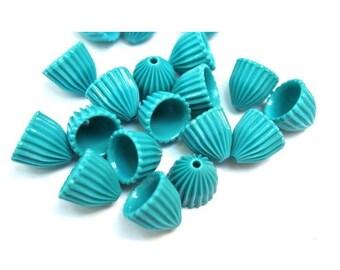 30 Vintage beads beautiful blue shade bell shape beads 11mmx12mm