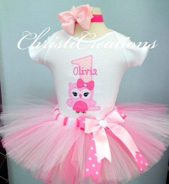 Baby Girl First Birthday Tutu Outfit Owl Birthday Tutu
