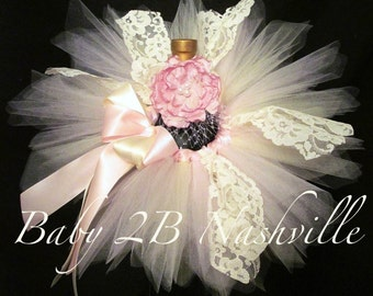 Lace Newborn Baby Tutu Set in Pink and Ivory ... Baby Shower Centerpiece
