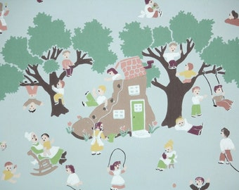 1940s Vintage Wallpaper by the Yard - Childrens Wallpaper with Nursery Rhyme Scene of Old Woman Who Lived in a Shoe
