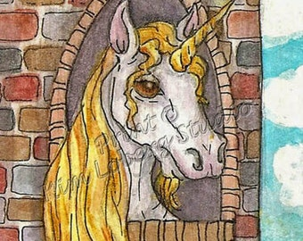 Unicorn Rapunzel golden mane horn White Horse castle ACEO mini art PRINT by Nebraska Artist Kim Loberg WHOA Team