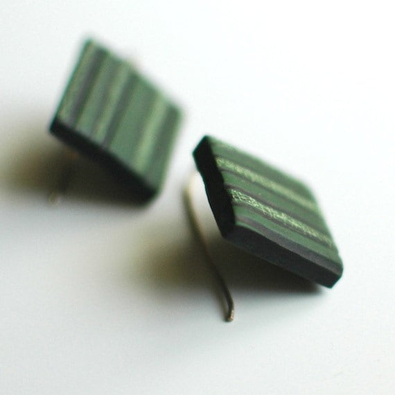 SALE, Corduroy, textured, Forest green earrings
