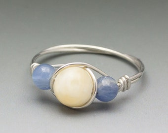 Yellow Calcite & Kyanite Sterling Silver Wire Wrapped Ring - Made to Order, Ships Fast!