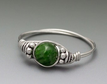 Chrome Diopside Bali Sterling Silver Wire Wrapped Ring - Made to Order, Ships Fast!
