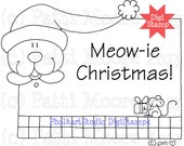 Meow-ie Christmas - Instant Download Digital Stamp