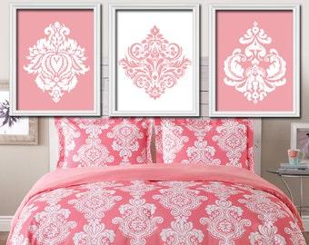 Damask Wall Art, Pink White Nursery Baby Girl Nursery Wall Art, Girl Bedroom Pictures, Girl Nursery Artwork Set of 3 Canvas or Prints
