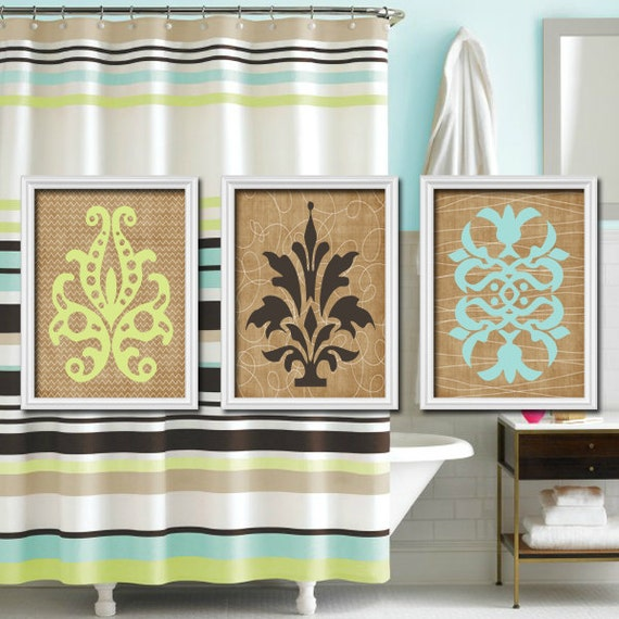 Damask Bathroom Wall Art Canvas Or Prints Bathroom By Trmdesign