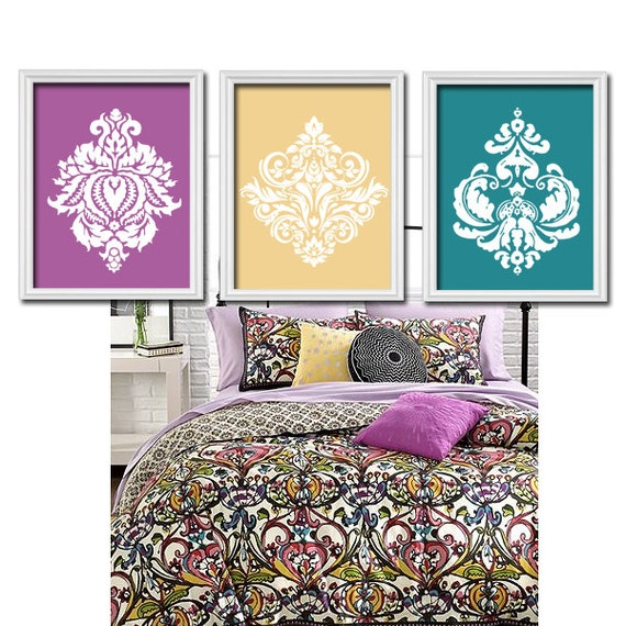 Wall art canvas artwork purple yellow teal damask by trmdesign for Purple and yellow bathroom ideas
