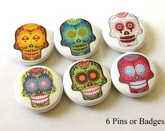 Button Pins Funky Day of the Dead Sugar Skulls gifts Dia De Los Muertos skeleton calavera party favors stocking stuffer wedding pin back