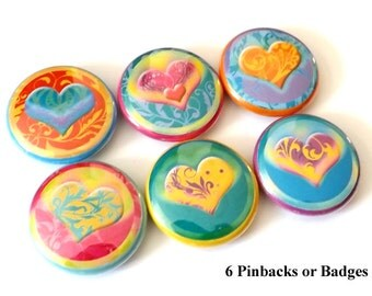 Heart Love 1 inch PINBACKS PINS BADGES buttons stocking stuffers shower party favors valentine favors flair gifts magnets wine charms