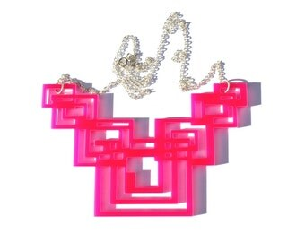 Pink Geometric Necklace Tron Inspired Laser Cut in Acrylic Perspex on Sterling Silver Chain