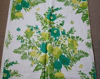 vintage 60s 70s Botanical Floral Linen Fabric in Greens - Set of 2 Pieces