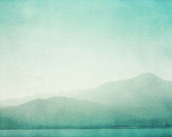Aqua blue wall art  turquoise photograph misty teal San Francisco bay landscape minimalist art print 'Blue Mist'