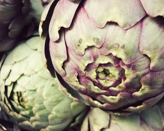 "Artichoke photograph | green purple kitchen art decor | vegetables food | still life photography print ""Artichokes"""