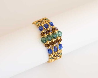 Gold Beaded Bracelet with Sparkling Swarovski Crystals in Sapphire Blue, Emerald Green and Smoked Dark Topaz. Art Deco Geometric Style S184