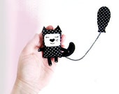 Black cat brooch, cat jewelry, cute animal brooch